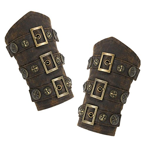 Faux Leather Steampunk Armor Cuffs (One Size) Brown