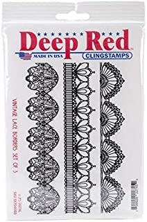 Deep Red Vintage Lace Borders Set of 3 Rubber Cling Stamps