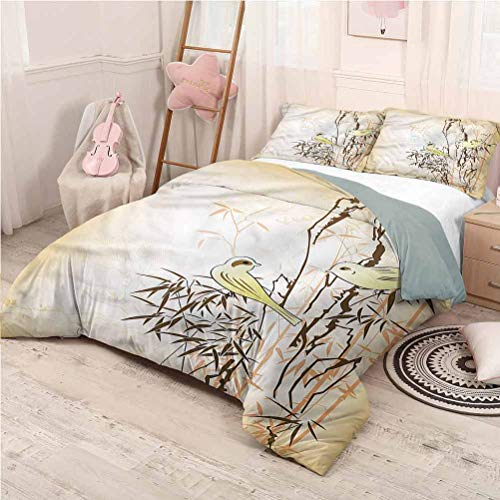 prunushome Bamboo 3 Piece Duvet Cover Comforter Set Leaf and Birds on The Branch Best Queen