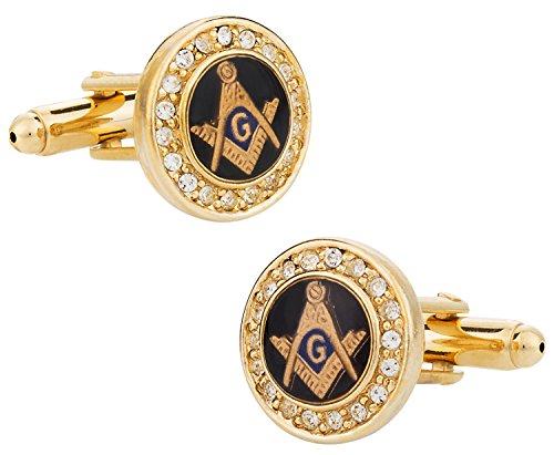 Cuff-Daddy Mens Crystal Gold Freemason Masonic Cufflinks with Presentation Box Unique Designed French Cufflinks Shirt Accessories for Men Attire Storage Travel Box Special Occasions