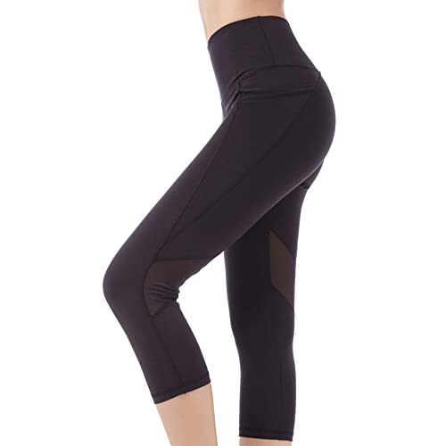 5cc589da013b10 Picotee Women's Yoga Pants High Waist Workout Capri Leggings Sports Running  Active Tights w Side Pocket