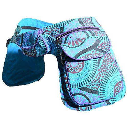 KUNST UND MAGIE Doppel Bauchtasche Sidebag Gürteltasche Festivaltasche Hippie Goa, Farbe:Petrol/Lila