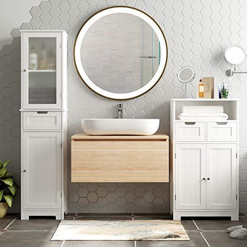 HOMECHO Bathroom Storage Cabinet with 3 Tier Shelf Drawer GlassDoor, Floor Cabinet Free Standing Linen Tower Tall Slim Side Organizer Shelves Wooden Cupboard, White, HMC-MD-015