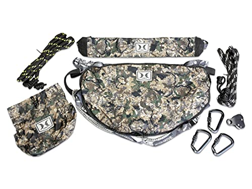 Hawk Helium Hammock Tree Saddle, Lightweight, Padded Removable Seat, Ultra Packable, Includes Climbing Grade Rope and attachments, camo, HWK-HHTS