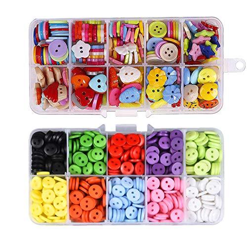 Hossom 590 Piezas Botones Costura, Botones de Resina, Botones de Colores con Caja de Plástico para Costura, Scrapbooking, Decoraciones Hechas a Mano de Bricolaje