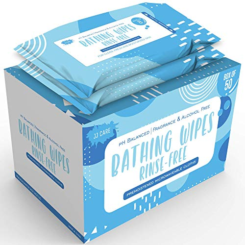 [50 Pack] No Rinse Bathing Wipes for Adults, Disposable Shower Wipes (400 Count) Adult Bathing Wipes for Travel & Gym with Aloe Vera, Body Wash Wipes, Camping Shower Wipes Rinse Free