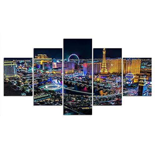 YIYYI Cuadro en Lienzo 5, 5 Paneles De Las Vegas Night Secenry Imágenes HD Impreso Moderno Lienzo Pintura Pared Arte Cartel Decoración del Hogar