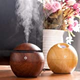 Shopelon Magic Wooden Cool Mist Humidifiers, USB Ultrasonic Aromatherapy, Essential Oil Diffuser with LED Night Light and 7 Interchangeable Color Change (Multicolour, Random Colour, 130 ml)