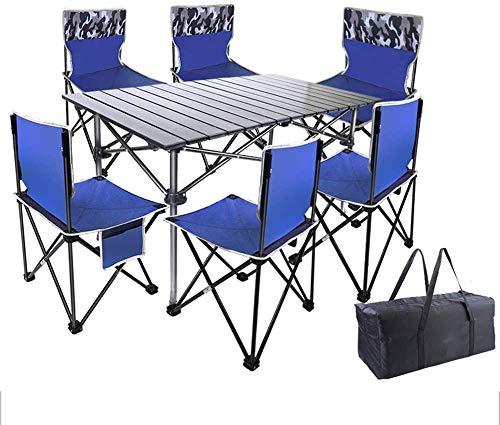 Juego de mesa plegable y sillas de Hydg, plegable, mesa de picnic y taburete ligero con respaldo para exteriores, senderismo, patio o playa, con bolsa de transporte (7