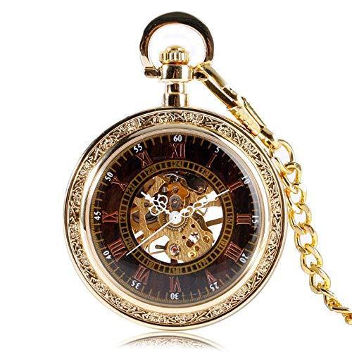 J-Love Reloj de Bolsillo mecánico Dorado de Estilo Antiguo clásico