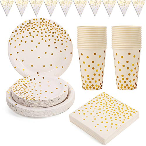 Duocute White and Gold Party Supplies 101PCS Golden Dot Paper Party Tableware Includes 9' Paper Plates, 7' Paper Plates, Napkins,12oz Cups, Banner, for Bridal Shower, Engagement, Wedding, Serves 25