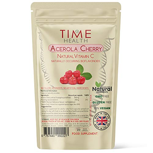 Acerola Cherry Extract Capsules - Natural & Wholefood VIT C - UK Manufactured - Zero Stearates or Flow Agents (120 Capsule Pouch)
