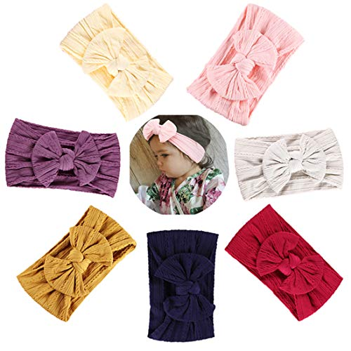 Simoda Joyfeel's Store Cintas para el pelo de Nylon para bebés Turbante Knotted Girls Hairband Super suave y elástica Wrap para recién nacidos Toddle para niños (Pack of 7#5)