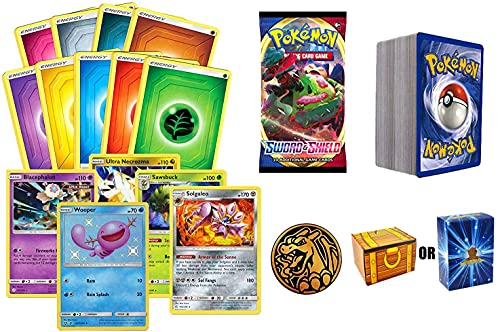 100 Assorted Pokemon Cards: 5 Rares, 5 Energy, 90 Assorted Cards, 1 Pack of Pokemon Swords and Shield, and 1 Pokemon Coin – All Cards Authentic – Includes Golden Groundhog Treasure Chest Storage Box