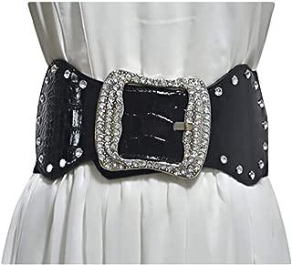 Ladies rhinestone inlay super wide girdle fashion wild wide belt (Color : Black, Size : 80-100cm)