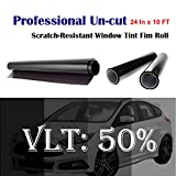 Mkbrother Uncut Roll Window Tint Film 50% VLT 24' in x 10' Ft Feet Car Home Office Glass