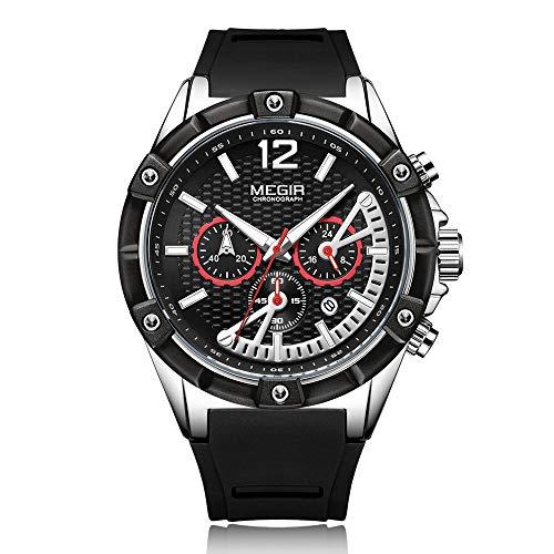 MEGIR Herren Quarz Sportuhr Markenuhr Leuchtender Silikon Digital Analog Stunde Minute Zweiter Kalender Chronograph Armbanduhr mit Geschenkbox