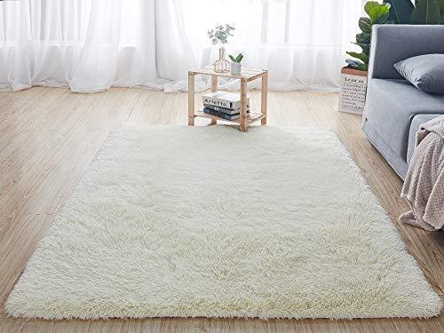 QUANHAO Teppich Wohnzimmer, super weicher Plüschteppich, Flauschiger Teppich, schöner Flauschiger Schlafzimmerteppich, geeignet für Heimdekoration, Kindergarten, Kindersofakissen(Weiß, 80 x 160 cm)