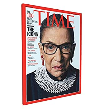 Ruth Bader Ginsburg Notorious RBG Time Magazine Cover Photo Framed Giclee Poster Painting 12x16 inch Canvas Print Wall Art Decor for Living Room Bedroom Bathroom Ready to Hang