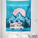 Ambesonne RV Tapestry Twin Size, Road Trip with Caravan with Pine Forest and Mountains Scenery and Words, Wall Hanging Bedspread Bed Cover Wall Decor, 68' X 88', Blue Baby Pink