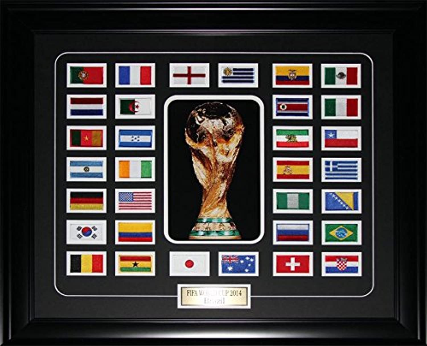 FIFA 2014 World Cup Final 32 Team Patch Soccer Memorabilia Collector Frame