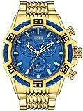 Relojes de cuarzo para hombre, cronógrafo, calendario, cronógrafo, correa de acero, reloj de cuarzo, resistente al agua, reloj de negocio, color azul dorado