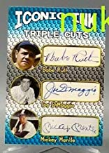 ICONIC INK Babe Ruth - Mickey Mantle - Joe DiMaggio Triple CUTS Autographed Baseball Card!