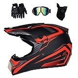 MRDEAR Motocross Helm Kinder mit Brille Handschuhe Maske (Rot und Schwarz, DOT) Adult Motorradhelm...