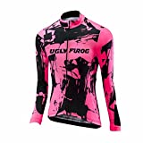 Uglyfrog Damen Neue Winter with Fleece Women Langarm Radsport Jersey eine Menge Farben Antislip Ärmel Road Bike MTB Top Riding Shirt
