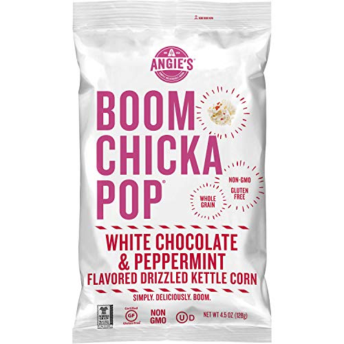 Angie's BOOMCHICKAPOP White Chocolate & Peppermint Flavored Kettle Corn, 4.5 oz. (Pack of 12)