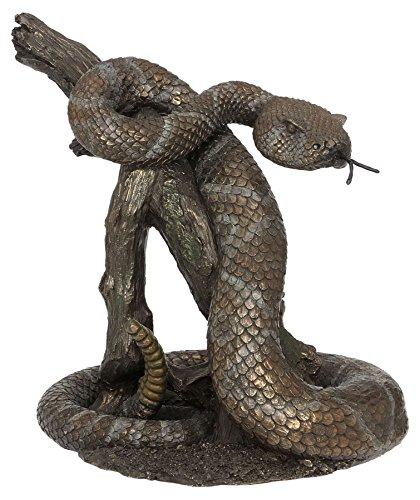 9.13'serpiente de cascabel en una apariencia de madera LOG–Figura decorativa de bronce fundido frío