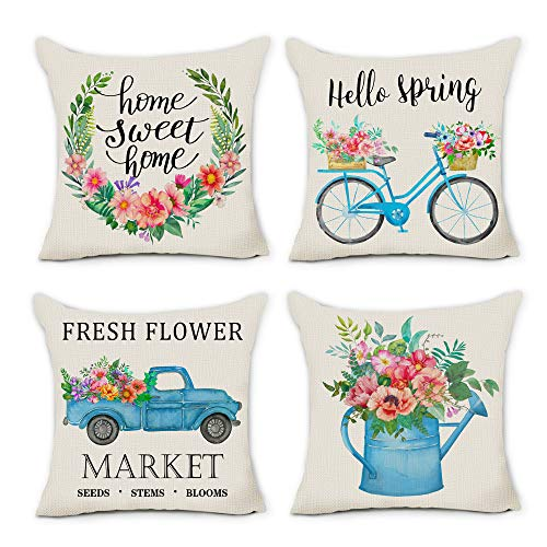 pinata Spring Pillow Covers 18x18 Farmhouse Decorative Spring Decorations for Home Throw Pillows Cases Set of 4 Outdoor Decor Holiday Rustic Fresh Flowers Wreath Bicycle Truck Seasonal Cushion Covers