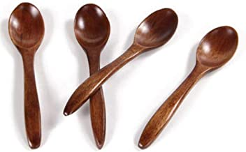 Wooden Spoon Creative Log Rice Spoon Small Soup Spoon Honey Coffee Spoon Stirring Spoon 5.51inch(about 14cm), Suitable For...