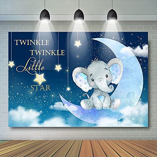 Foto Fondos Imagen Pequeña Estrella Fotografía Fondo Elefante Luna Espumoso Estrella Espacial Fiesta Decoración Cumpleaños Recepción Regalo Bebé Recepción