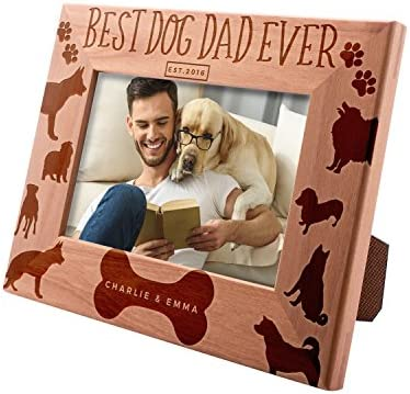 Best Dog Dad Ever Personalized Picture Frame 4x6 Custom Engraved Frame w Name Year Dog Father product image