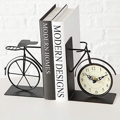 Tischuhr Fahrrad als Buchstütze im Vintage Stil, Modell: Bicycle, Material Vollmetall, 22 x 16 cm, Farbe Antik Braun, für EIN schönes Zuhause.
