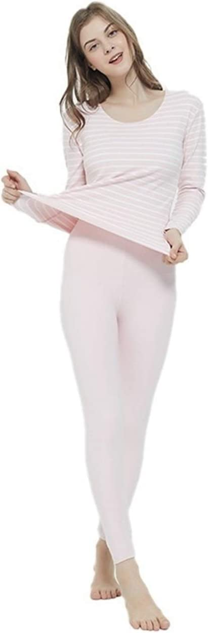 Glqwe No Trace Autumn Winter Plus Size 7XL Long Johns for Women Stripe Fever Thermal Underwear Women's Warm Sets Tops and Pants (Color : Pink, Size : 5XL)