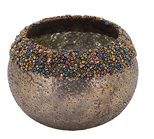 Fennco Styles Hand Beaded Glass 3 Inch High Candle Holder - Bronze Rustic Glass Votive for Home Décor, Centerpieces Dining Table, Coffee Table and Special Event