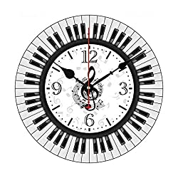 Piano Keys Musical Notes Modern Simple Wooden Wall Clock Silent Non-Ticking Clock for Living Room Home Office 12 Inches