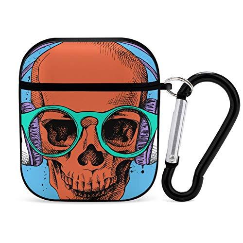 Funda para Airpod de color negro, póster con un retrato de cráneo con auriculares y gafas en estilo Pop Art 2 portátil y a prueba de golpes, accesorios para Airpods 2 y 1 con llavero