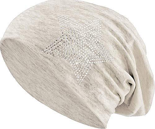 Jersey Baumwolle elastisches Long Slouch Beanie Unisex Herren Damen mit Strass Stern Steinen Mütze Heather in 35 (2) (Heather Beige)