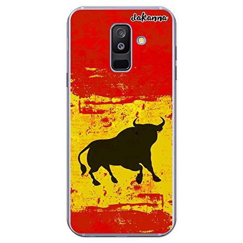 dakanna Funda Compatible con [Samsung Galaxy A6 Plus (2018)] de Silicona Flexible, Dibujo Diseño [Bandera españa con Toro], Color [Borde Transparente] Carcasa Case Cover de Gel TPU para Smartphone
