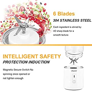 Portable Blender, Personal Size USB Rechargeable Juicer Cup, Mini Blender Small Juice 500ml Mixer 6 Blades Portable Juicer for Shakes, Smoothies, Home, Travel & Gym (white)