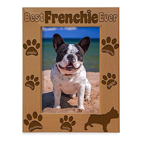 KATE POSH Best Frenchie Ever Engraved Natural Wood Picture Frame, French Bulldog Photo Frame, Pet Memorial Gifts, New Puppy Gifts, Dog Lover Gift, Paw Prints on my Heart (5x7 Vertical)