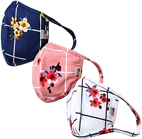 Bluego 3PCS Adult Fashion Flower Pattern Cotton Face Mask for Dust Protection Anti-Toxic Gas Washable Ear-Loop Comfortable Outdoor (As Shown)