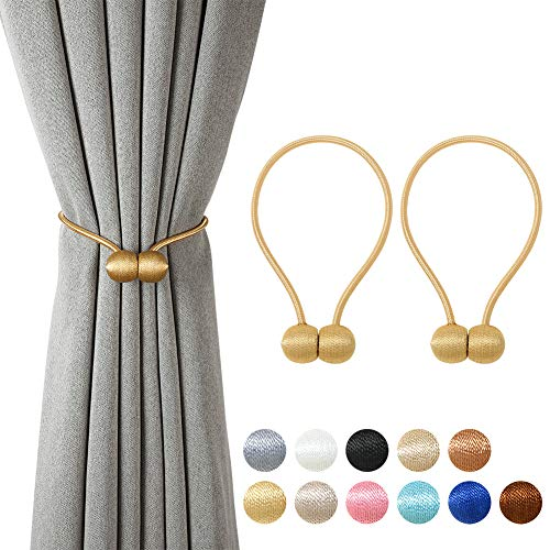 BCURTAIN Magnetic Curtain Tiebacks,European Style Decorative Curtain Drape Tie with Strong Magnetic for Home and Office Decoration,Gold,1 Pair