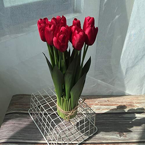 belupai Ramo de flores artificiales de tulipán de tallo largo con 12 cabezas, flores de simulación de tacto real, para decoración de casa, fiesta, boda