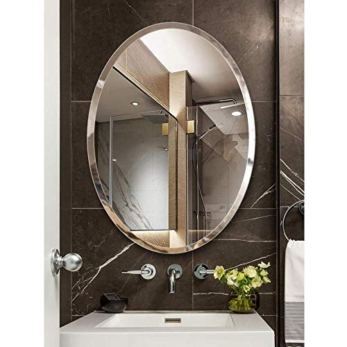 ZCXBHD Espejo De Pared De Estilo Moderno Ovalado Espejo De Vanidad Espejo De Afeitado Espejo De Baño Ovalado De Pared Espejo De Vanidad Decorativo Colgante para Dormitorio,60x80cm