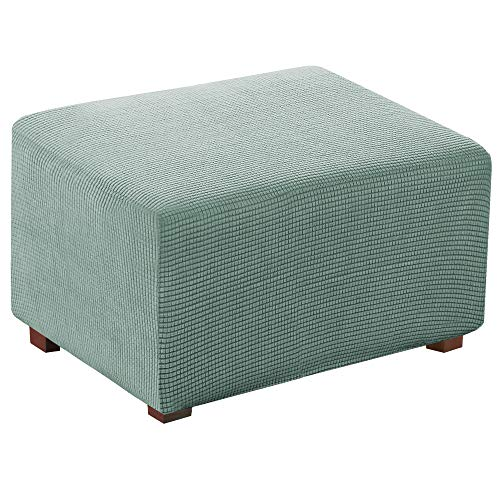 Stretch Jacquard Universal Ottoman Cover, Easy Fitted Oversized Storage Ottoman Covers Slipcover,High Elasticity Furniture Protector (X-Large, Sage)