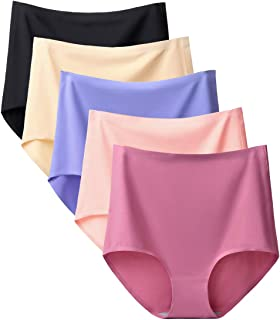Buankoxy 5 Pack Women's Seamless Invisible Hipster Panties High Waist Underwear, Assorted Colors